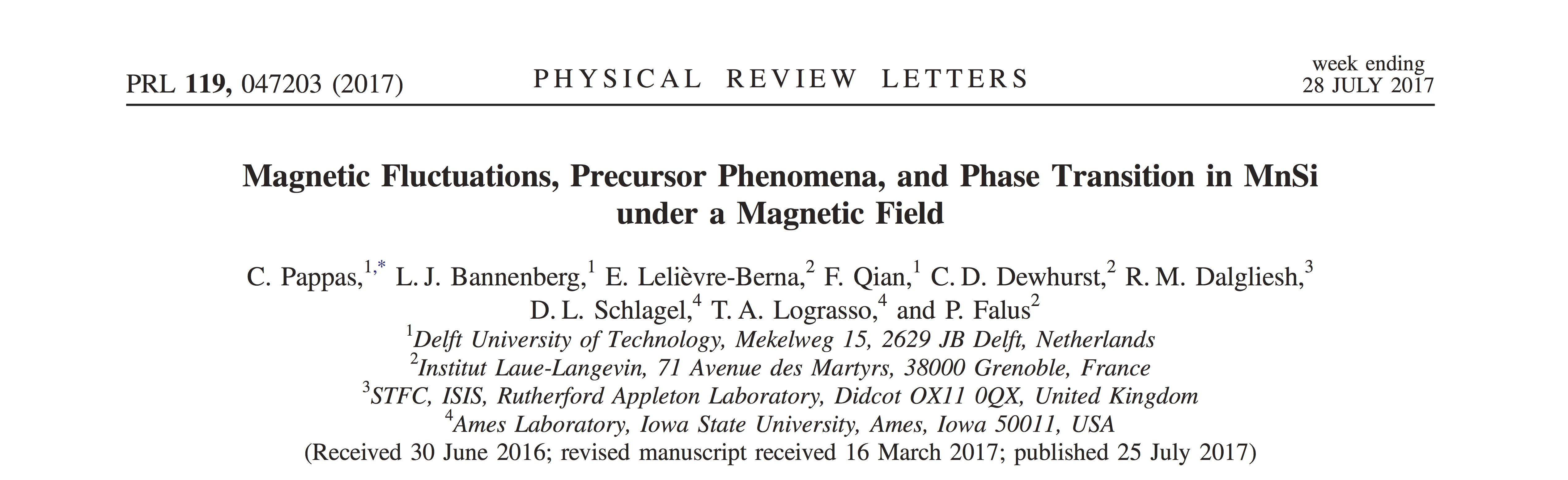 First Physical Review Letters Publication From Larmor Delfit